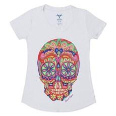 Camiseta Feminina Branca Estampa Sugar Skull - Black Angus 19146