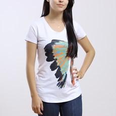 Camiseta Feminina Branca Manga Curta Estampa Cocar - Black Angus 19159