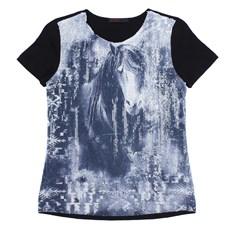 Camiseta Feminina Clássica Preta Tassa Gold 23859