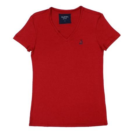 Camiseta Feminina Gola V Tassa Vermelha 26785