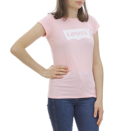 Camiseta Feminina Infantil Estampada Rosa Levi's 29997