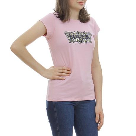 Camiseta Feminina Infantil Estampada Rosa Levi's 29998