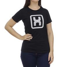 Camiseta Feminina Preta Estampa em Relevo TXC 28852