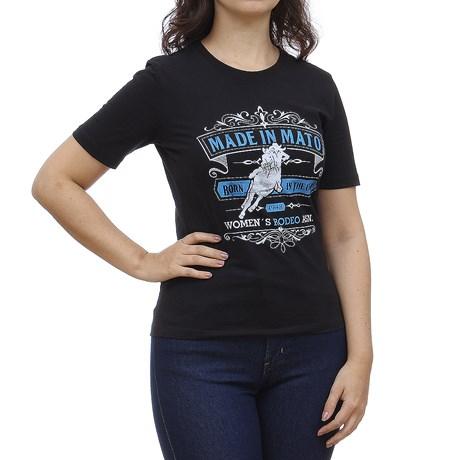 Camiseta Feminina Preta Estampada Made in Mato 28717