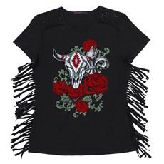 Camiseta Feminina Preta Tassa Gold Estampada 22668