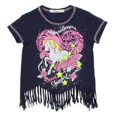 Camiseta Infantil Feminina Azul Marinho Estampada com Franja Tassa 28156