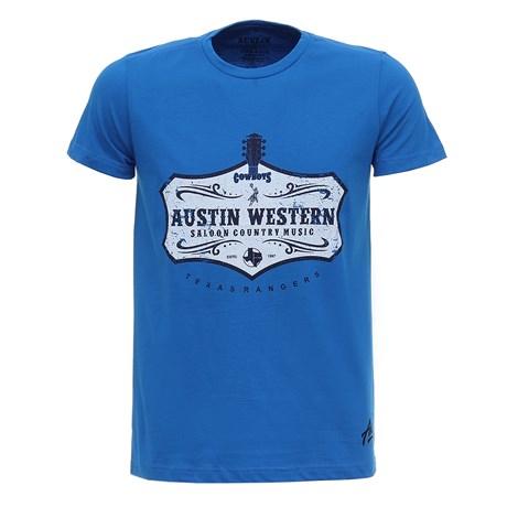 Camiseta Masculina Azul Estampada Austin Western 28024