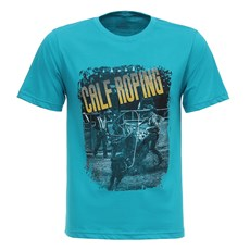Camiseta Masculina Azul Turquesa Calf Roping Texas Diamond 27844