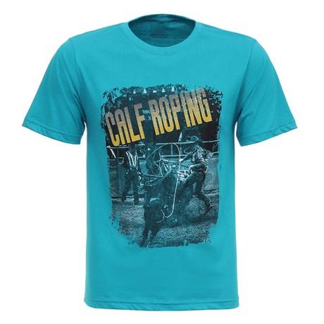 Camiseta Masculina Azul Turquesa Calf Roping Texas Diamond 27844
