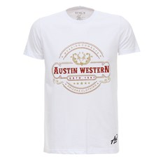 Camiseta Masculina Branca Estampada Austin Western 28017