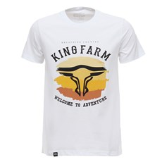 Camiseta Masculina Branca Estampada King Farm 29008