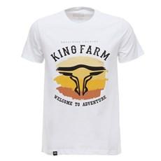 Camiseta Masculina Branca Estampada King Farm 29008