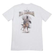Camiseta Masculina Branca Sela Americana 100% Algodão - Wild Colt 17306