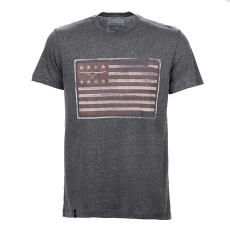 Camiseta Masculina Cinza Mescla Estampada King Farm Original 25718