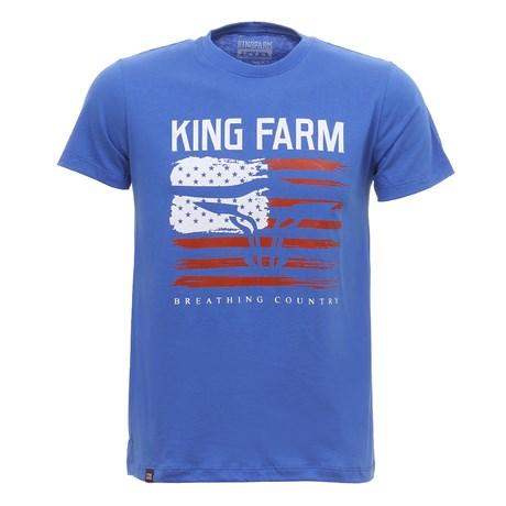 Camiseta Masculina Estampada Azul King Farm 30046
