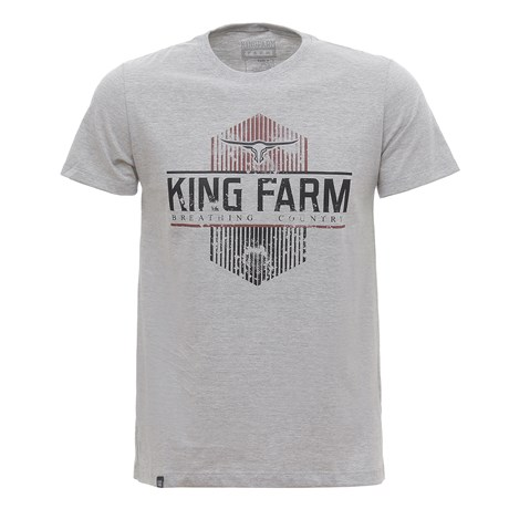 Camiseta Masculina Estampada Cinza Mescla King Farm 30043