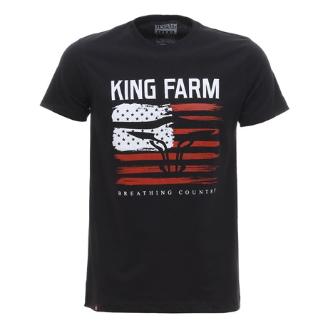 Camiseta Masculina Estampada Preta King Farm 30044