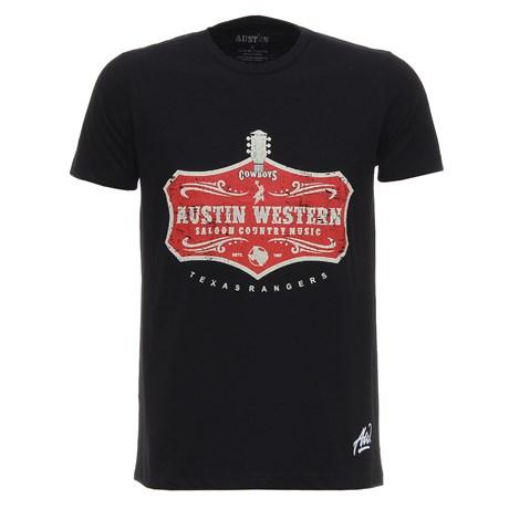 Camiseta Masculina Preta Estampada Austin Western 28023