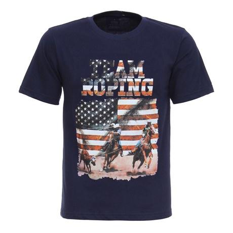 Camiseta Masculina Team Roping Azul Marinho Texas Diamond 27839