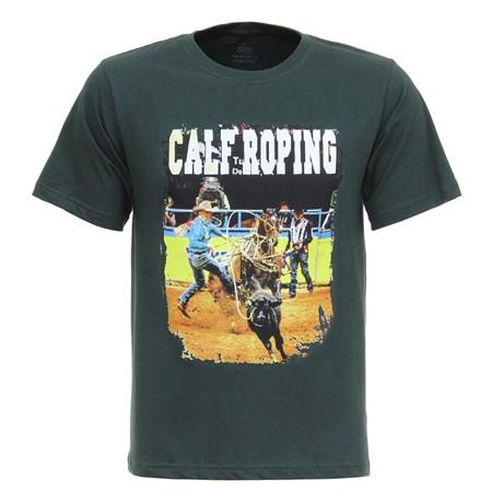 Camiseta Masculina Verde Calf Roping Texas Diamond 27815