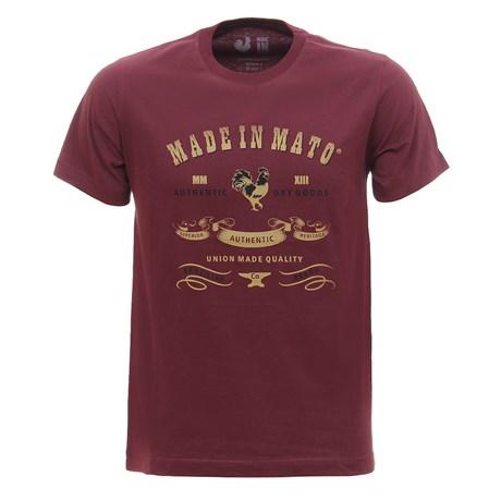 Camiseta Masculina Vinho Estampada Made In Mato 29970