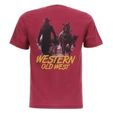 Camiseta Masculina Western Old West Vinho Texas Diamond 27829