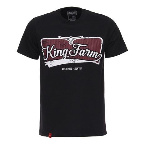 Camiseta Preta Masculina Estampada King Farm Original 26702