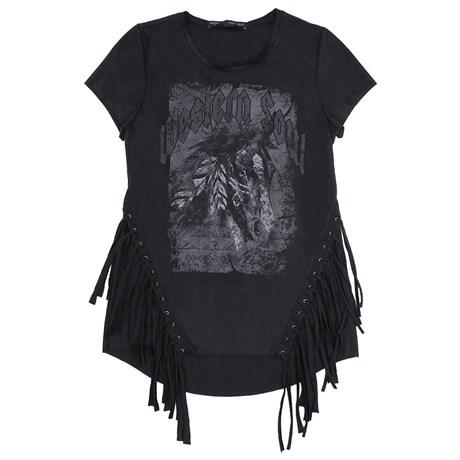 Camiseta T-Shirt Feminina Clássica Preta Tassa Gold 23860