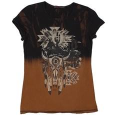Camiseta Tassa Feminina Estampada Marrom 21402
