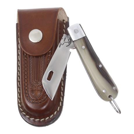 Canivete de Chifre com Lâmina em Aço Inox e Bainha em Couro Rodeo West 29560