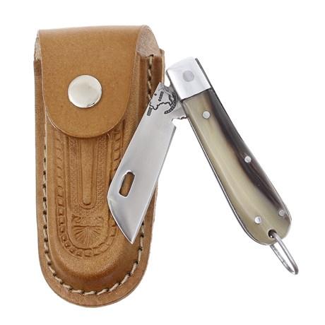 Canivete de Chifre com Lâmina em Aço Inox e Bainha em Couro Rodeo West 29561