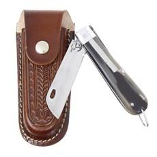 Canivete de Chifre com Lâmina em Aço Inox e Bainha em Couro Rodeo West 29581