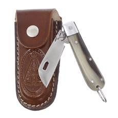 Canivete de Chifre com Lâmina em Aço Inox e Bainha Nossa Senhora Rodeo West 29570