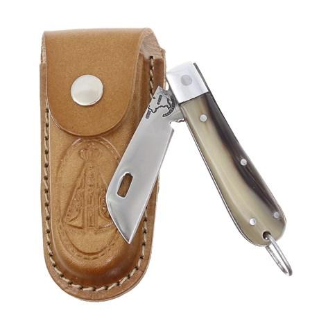 Canivete de Chifre com Lâmina em Aço Inox e Bainha Nossa Senhora Rodeo West 29571