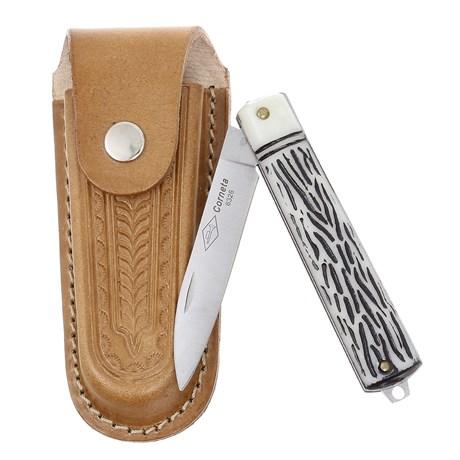 Canivete Dobrável com Lâmina Estreita e Bainha em Couro Corneta 29597