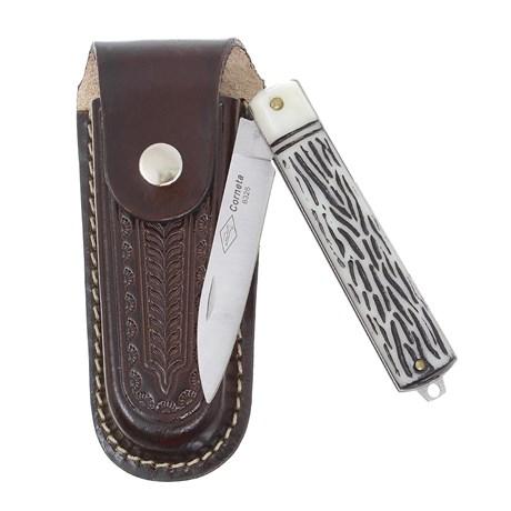 Canivete Dobrável com Lâmina Estreita e Bainha em Couro Corneta 29598