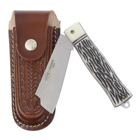 Canivete Dobrável com Lâmina Larga e Bainha em Couro Corneta 29602