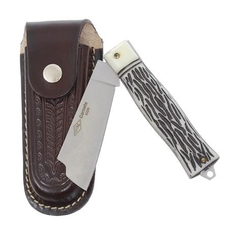 Canivete Dobrável com Lâmina Larga e Bainha em Couro Corneta 29604