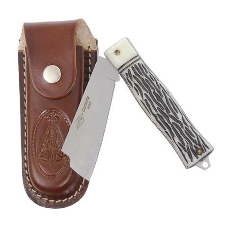 Canivete Dobrável com Lâmina Larga e Bainha Nossa Senhora Corneta 29601