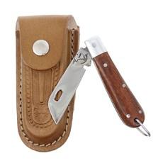 Canivete em Aço Inox com Cabo de Madeira e Bainha em Couro Rodeo West 29558