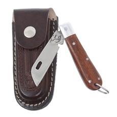 Canivete em Aço Inox com Cabo de Madeira e Bainha em Couro Rodeo West 29559