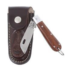 Canivete em Aço Inox com Cabo de Madeira e Bainha Nossa Senhora Rodeo West 29566