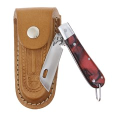 Canivete em Aço Inox com Cabo Vermelho e Bainha em Couro Rodeo West 29564
