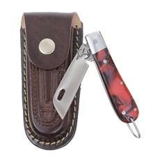 Canivete em Aço Inox com Cabo Vermelho e Bainha em Couro Rodeo West 29565