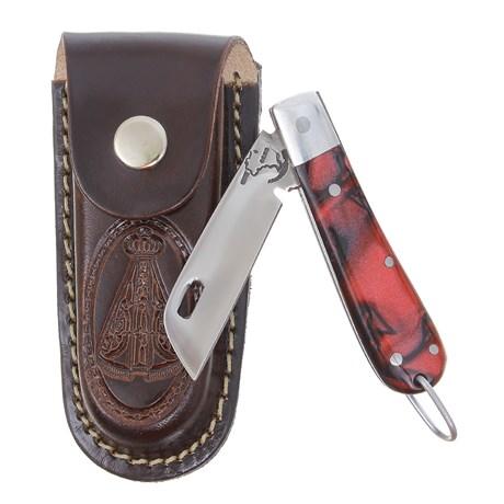 Canivete em Aço Inox com Cabo Vermelho e Bainha Nossa Senhora Rodeo West 29572
