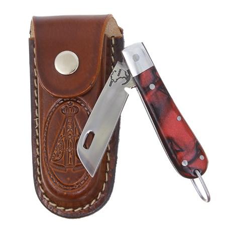 Canivete em Aço Inox com Cabo Vermelho e Bainha Nossa Senhora Rodeo West 29573