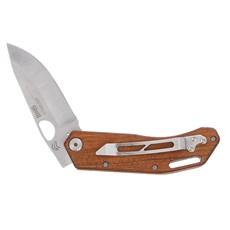 Canivete em Aço Inox com Lâmina Lisa e Cabo de Madeira com Presilha Cimo 30166
