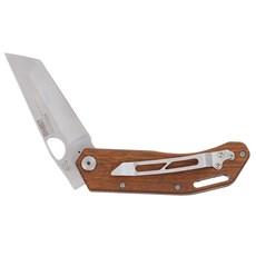 Canivete em Aço Inox com Lâmina Lisa e Cabo de Madeira com Presilha Cimo 30167