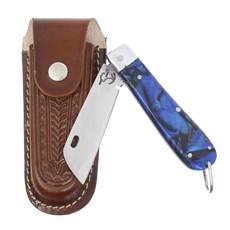 Canivete em Aço Inox e Cabo Azul com Bainha em Couro Rodeo West 29575