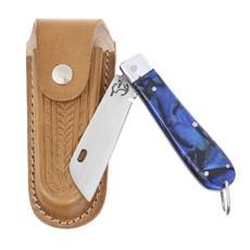 Canivete em Aço Inox e Cabo Azul com Bainha em Couro Rodeo West 29576